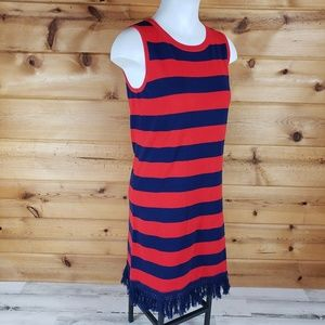 Sail to Sable nautical striped knit dress navy red